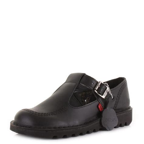 kickers flat shoes womens kickers kick t bar black leather flat