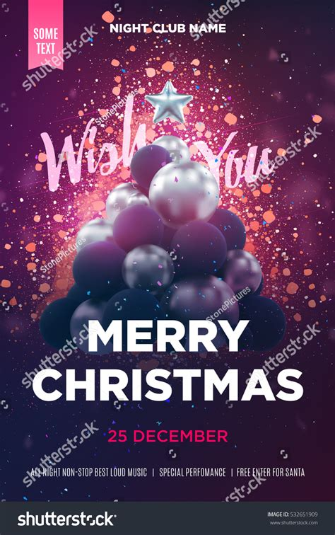 poster template for christmas tree poster flyer template silver stock vector 532651909