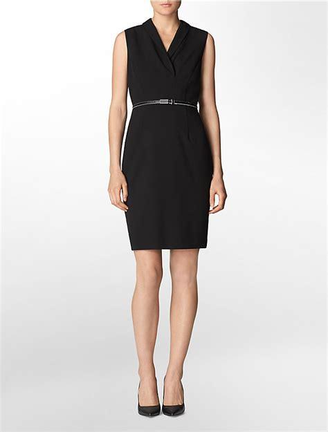 calvin klein womens v neck belted sleeveless sheath dress