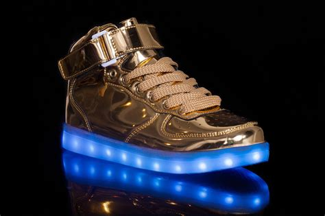 gold light up shoes light up shoes gold high top with usb charger cheap sale