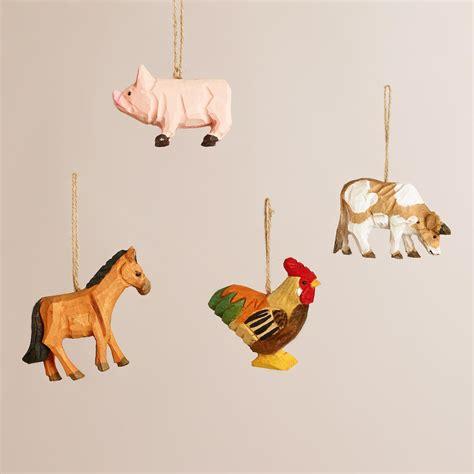 animal ornaments wooden farm animal ornaments set of 4 world market