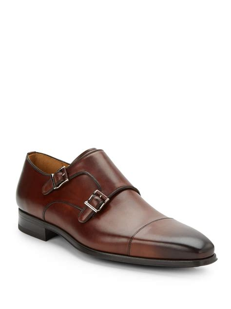 magnanni monkstrap leather dress shoes in brown for