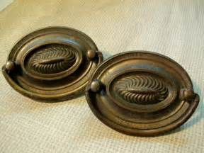 vintage hardware drawer pulls antique brass patina