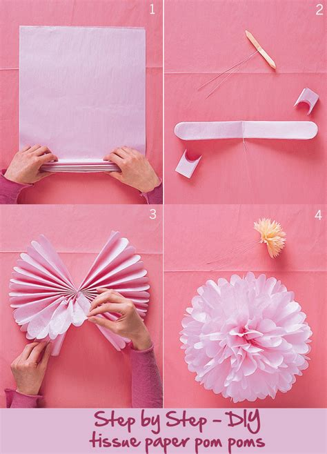 How To Make Tissue Paper Pom Poms Balls - how to make tissue paper pom poms crafts