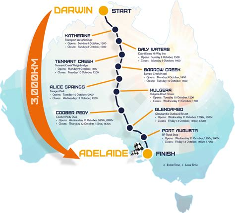 solar challenge australia route map world solar challenge 2017