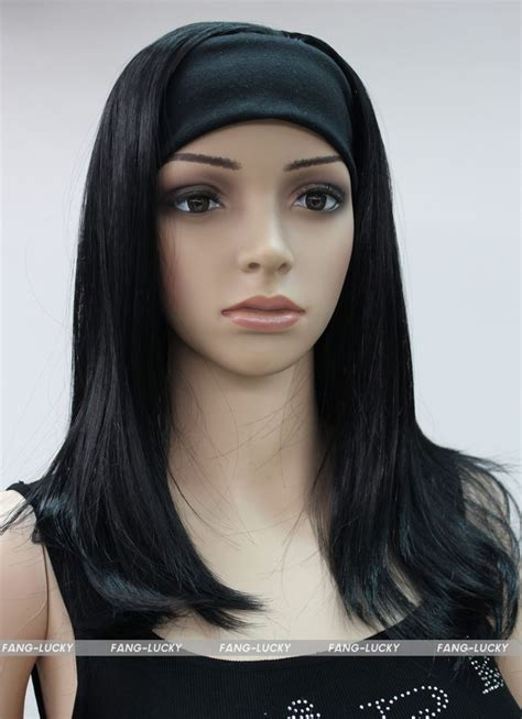 head bands for women over 60 black medium long straight women daily 3 4 half wig with