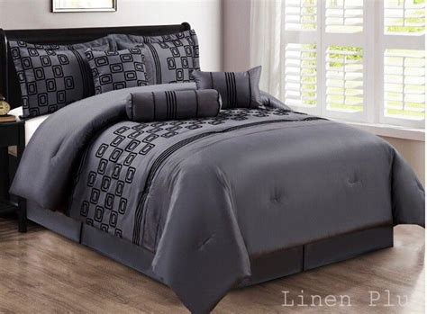 7 piece faux silk gray black flocked comforter set cal