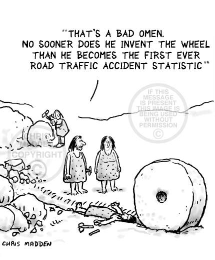 funny cartoons caveman wheel unintended consequences cartoon the invention of the