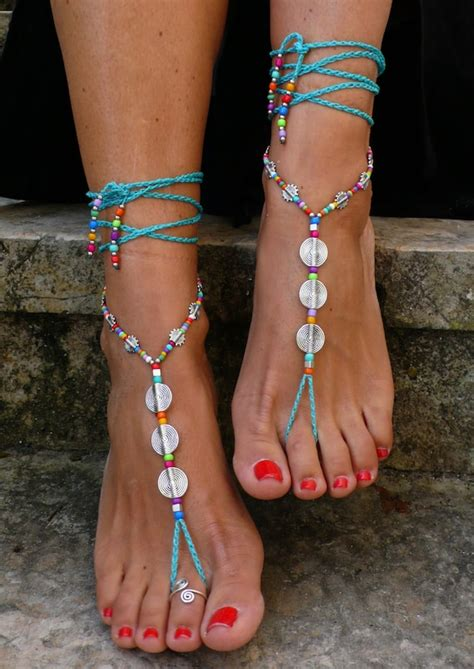turquoise spiral barefoot sandals foot jewelry hippie sandals