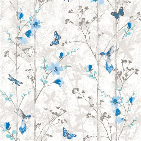 shabby chic wallpaper blue flowers and butterflies shabby chic wallpaper the