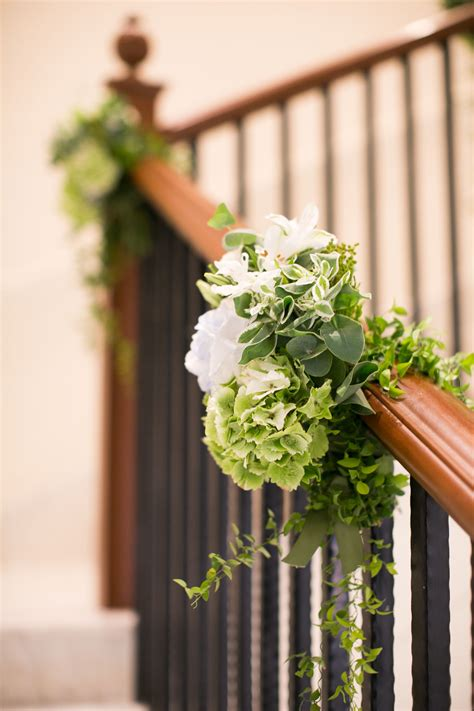 banisters flowers wedding floral arrangement for a staircase banister
