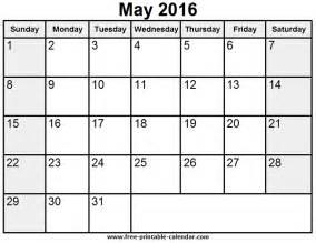 may template may 2016 calendar
