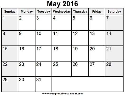 printable calendar template may 2016 may 2016 calendar