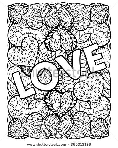 love coloring page for adults hearts with love in doodle zentangle style adult coloring