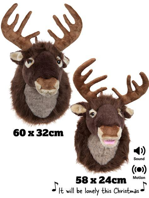 fibreglass christmas reindeer head singing reindeer stag motion activated door mounted decoration ebay