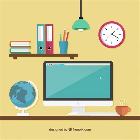 computer desk free workspace with a computer vector free