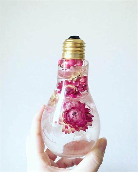 beautiful flowers  light bulbs suspended  time