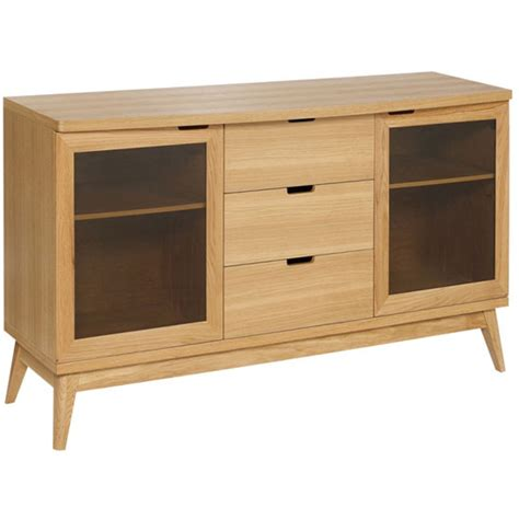 Patio Solid Oak Sideboard With 3 Drawer And 2 Glass Doors Solid Oak Patio Doors