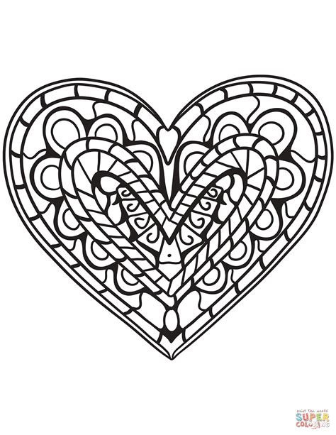 coloring hearts zentangle coloring page free printable coloring pages