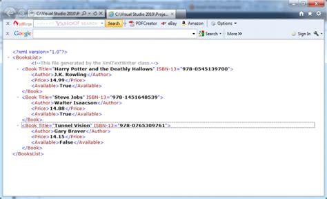 xml tutorial in asp net how to use xmltextwriter to create an xml document in c