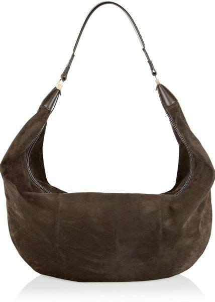 Castro Suede Sling Bag the row sling leathertrimmed suede shoulder bag in brown lyst