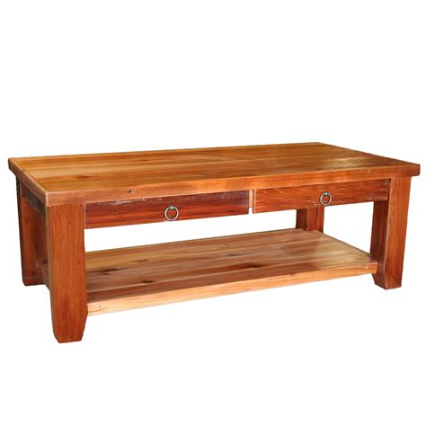 barnwood leg 2 drawer coffee table with shelf