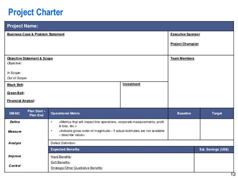 Project Charter Template Powerpoint Lean Six Sigma Storyboard Template Operational Excellence Six Sigma Project Charter Template Ppt