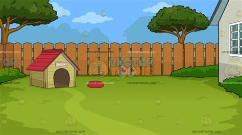 backyard dog house a dog house in the backyard background cartoon clipart vector toons