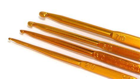 Alat Rajut jarum rajut aluminium dobel pointed gold crafts