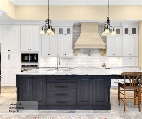 White Kitchen Gray Island by Hollibrune Raised Panel Cabinet Doors Omega Cabinetry