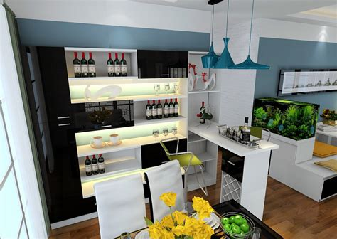 modern style home mini bar counter 3d house