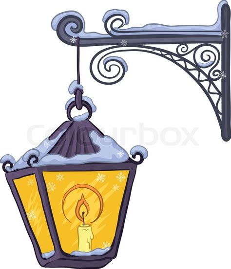 Decorative Lantern by Vintage Street Lamp Glowing In The Snow Hanging On A