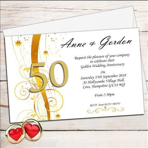 golden anniversary invitations templates wedding invitation golden wedding anniversary