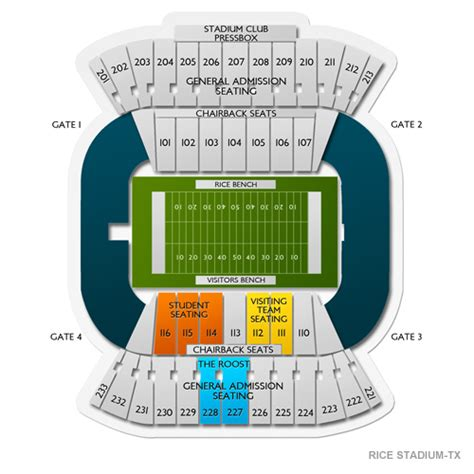 texas stadium seat map rice stadium tx seating chart seats