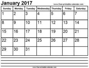Calendar 2017 January 2017 January Calendar Printable