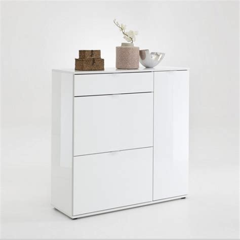shoe storage cabinet white gloss portino shoe cabinet in white gloss with 3 doors 27558