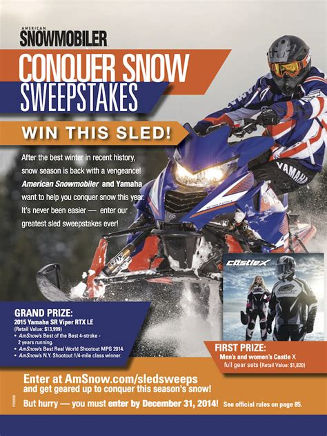 First For Women Magazine Sweepstakes - conquer snow sweepstakes castle x snow and motorcycle