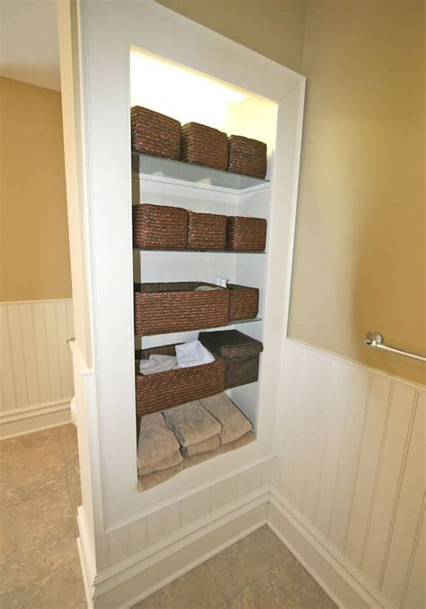 Built In Bathroom Shelves Home Decor Pinterest Built In Bathroom Shelves