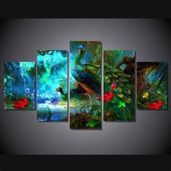 Home Decor Canvas Framed Print Peacock Animal Colorful Painting Canvas Home Decor Wall Picture Ebay