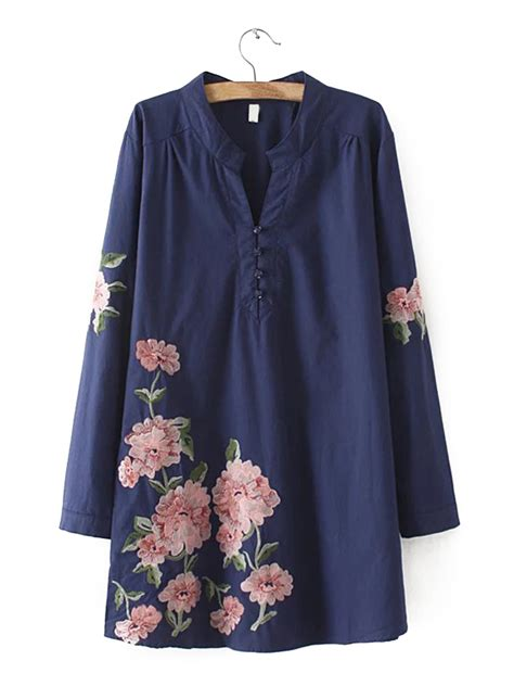 Flower Embroidered Blouse slim embroidered flower sleeve blouses