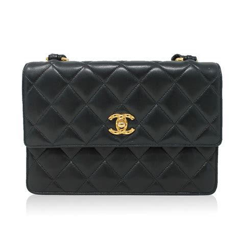 Black Quilted Chanel Handbag by Chanel Black Lambskin Quilted Crossbody Vintage Bag