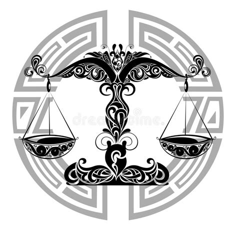 zodiac signs libra tattoo design stock vector