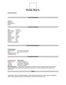 Free Fill In Resume Template by Free Printable Fill In The Blank Resume Templates Resume