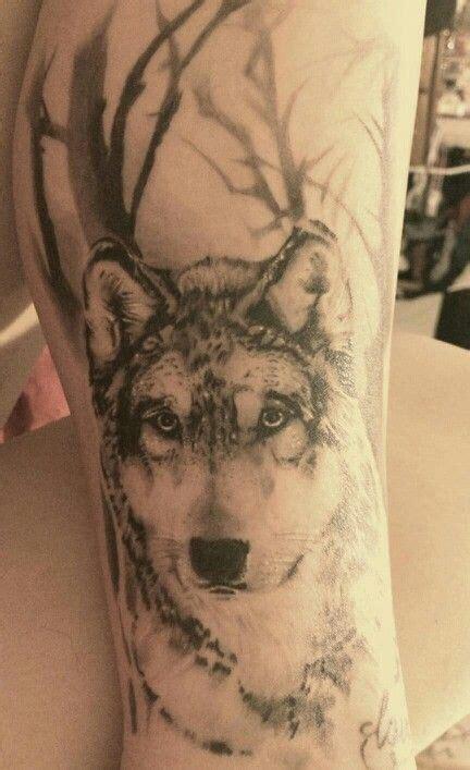 wolf tree tattoo large tree and wolf on leg tattoomagz