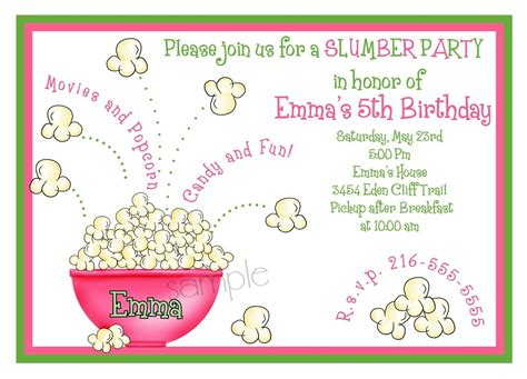 slumber party invitations sleepover invitations popcorn