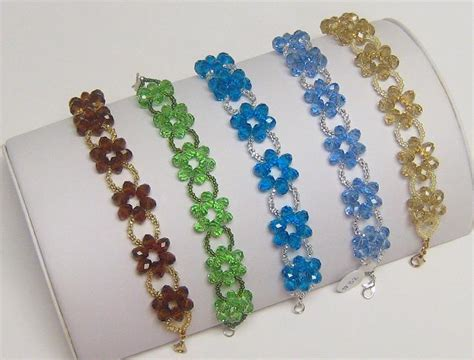 beaded flower bracelet patterns seed bead flower bracelet mcbead creations free demos