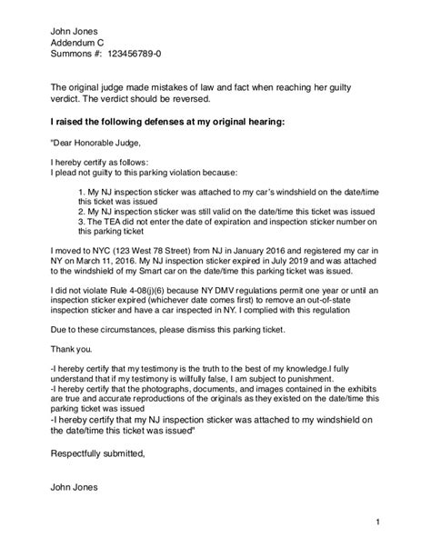 Appeal Letter Defence How To Win An Nyc Parking Ticket Appeal