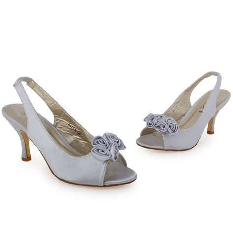 womens silver peeptoe wedding backstrap bridal