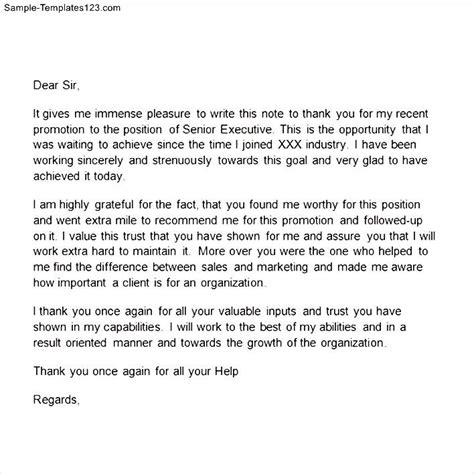 Sle Recommendation Letter For Promotion Thank You Letter After For Promotion 28 Images Sle