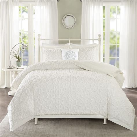 white tufted comforter madison park sarah white tufted comforter 4 piece set ebay